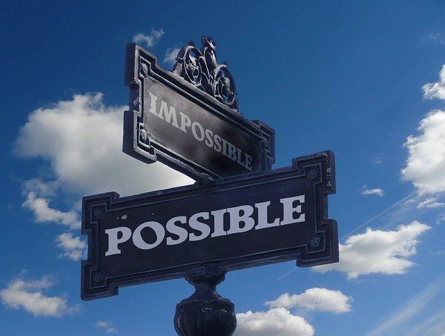 Mindfulness street sign, we need to work on ourselves, possible or impossible